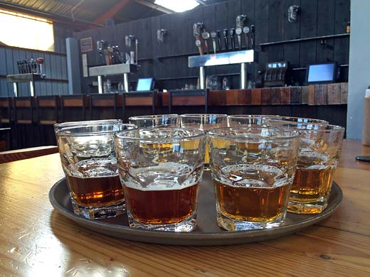 All aboard the Southern Pacific Brewing taster tray!