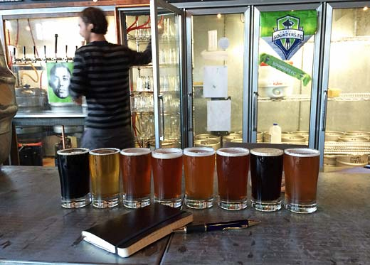 West Seattle Brewing taster flight