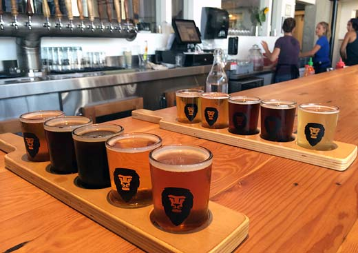 the lion, the bar, and the sampler flights